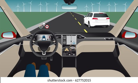Autonomous self-driving car with head up display, navigation and digital speedometer is on the road. Inside view. Vector illustration