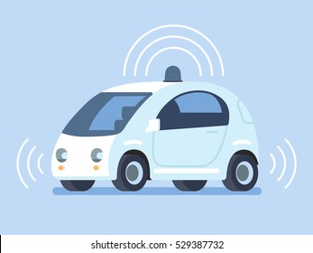 Autonomous self-driving car. Vector illustration