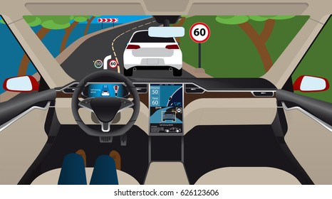 Autonomous self-driving electric car with head up display, navigation and digital speedometer is on the road. Inside view. Vector illustration