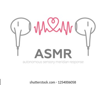 Autonomous sensory meridian response, ASMR logo or icon. Earphones, heart shape and sound waves as a symbol of enjoying sounds, whisper or music. Vector illustration flat line style