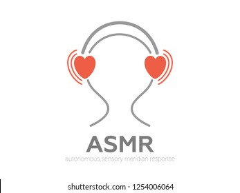 Autonomous sensory meridian response, ASMR logo or icon. Head with heart shaped headphones, enjoying sounds, whisper or music. Vector illustration flat line style