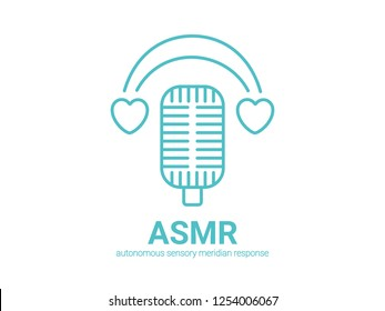 Autonomous sensory meridian response, ASMR logo or icon. Microphone and heart shaped earphones, as a symbol of enjoying sounds, whisper or music. Vector illustration flat line style