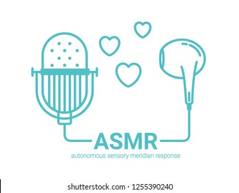 Autonomous sensory meridian response, ASMR logo or icon. Connected microphone and earphones, with hearts as a symbol of enjoying sounds, whisper or music. Vector illustration flat line style