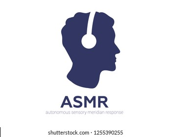 Autonomous sensory meridian response, ASMR logo or icon. Male head profile with headphones, enjoying sounds, whisper or music. Vector illustration flat line style