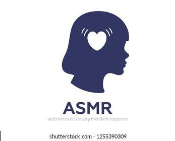 Autonomous sensory meridian response, ASMR logo or icon. Female head profile with heart shaped headphones, enjoying sounds, whisper or music. Vector illustration flat line style