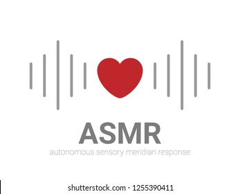 Autonomous sensory meridian response, ASMR logo or icon. Heart shape and sound waves as a symbol of enjoying sounds, whisper or music. Vector illustration flat line style