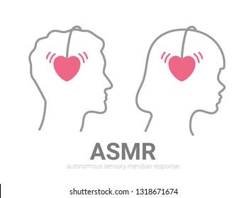 Autonomous sensory meridian response, ASMR logo or icon. Male and female head profiles set with heart shaped headphones, enjoying sounds, whisper or music. Vector illustration flat line style