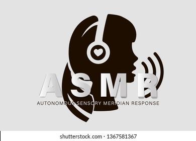 Autonomous sensory meridian response, ASMR logo or icon. Female head profile with heart shaped headphones, enjoying sounds, whisper or music. Vector illustration flat line style