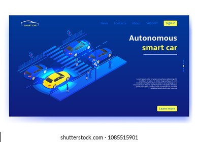 Autonomous smart car concept banner. Smart car scans road, signs, objects and crosswalk in the city. Vector illustration.