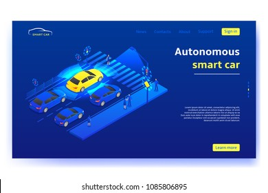 Autonomous smart car concept banner. Smart car stands in front of traffic light and scans road, signs, objects and crosswalk in the city. Vector illustration.