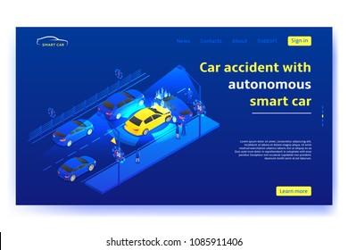 Autonomous smart car concept web banner. Autonomous smart car crashes on road in the city. Vector illustration.