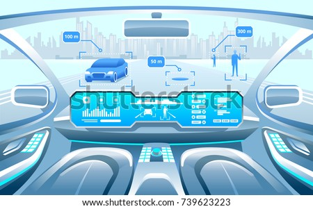 Autonomous Smart Car Interior Woman Rides Stock Vector Royalty Free