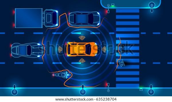 Автономный умный автомобиль сканирует дорогу, работает машина автоматически останавливается на пешеходном переходе в городе. Векторная иллюстрация.