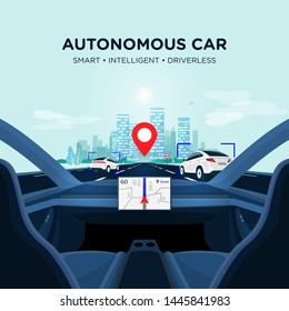 Autonomous smart driverless electric car self-driving on the road to city. Vehicle autopilot is scanning distance with radar, cameras and sensor. Vector illustration of car interior with big display.