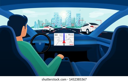 Autonomous smart driverless electric car self-driving on road to city. Vehicle on autopilot and man driver without holding hands on steering wheel. Car interior dashboard display view. Vector concept.