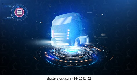 Autonomous smart truck. Unmanned vehicles. artificial intelligence controls the Autonomous truck. Hologram car style in HUD,UI,GUI. Truck. Abstract vector 3d heavy lorry van. Vector illustration