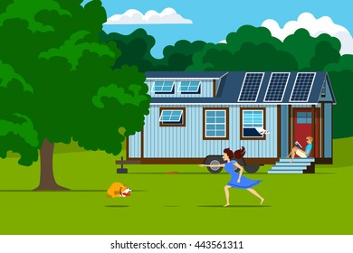 Autonomous tiny house with solar panels on nature. Young woman playing with dog, and man reading a magazine on the porch of a small house.