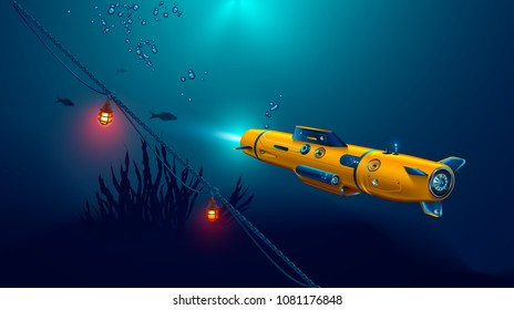 Autonomous underwater drone or robot with camera exploration seabed. Seabed underwater and rays of sunlight shining through water.