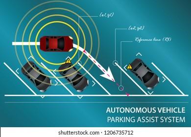 Autonomous vehicle concept. Smart parking assist system. EPS 10 vector illustration.