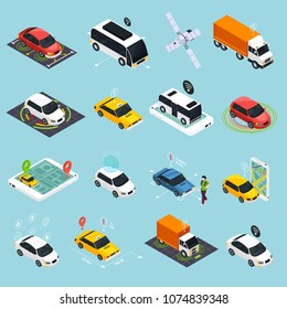 Autonomous vehicle isometric icons set of driverless robotic car bus train truck taxi controlled by satellite navigation vector illustration
