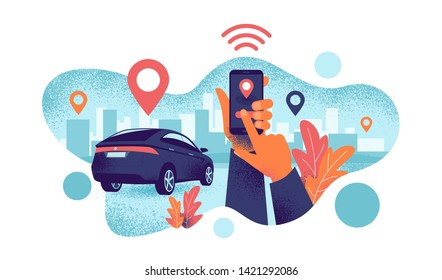Autonomous wireless remote connected car sharing service controlled via smartphone app. Hands holding phone with location mark of smart electric car in modern city skyline. Grain style illustration.