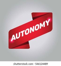AUTONOMY arrow tag sign.
