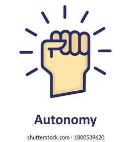 Autonomy, close fist outline with color fill inside Isolated Vector icon which can easily modify or edit