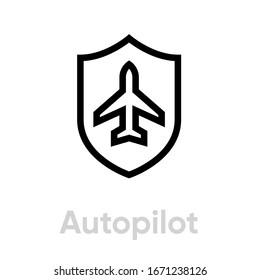 Autopilot airplane icon. Editable line vector. Aircraft flying on autopilot single pictogram..