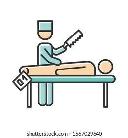Autopsy color icon. Disambiguation. Post-mortem examination. Deceased patient. Corpse with tag. Body in morgue. Death cause. Medical forensic procedure. Pathologist. Isolated vector illustration