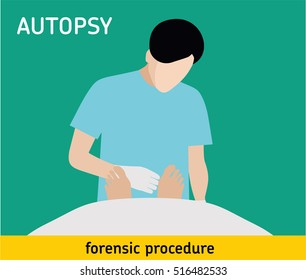 Autopsy. Forensic procedure. The pathologist conducts the autopsy of the murder victim. Murder investigation