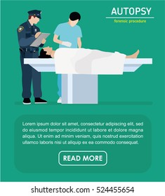 The autopsy of the murder victim. Forensic procedure banner. Police and the coroner are investigating a murder victim. Flat illustration.