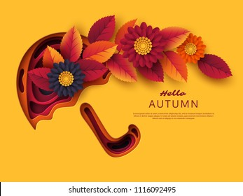 Autumn 3d paper cut umbrella with leaves and flowers. Abstract background with shapes in yellow, orange, purple colors. Design for decoration, business presentation, posters, flyers, prints. Vector.