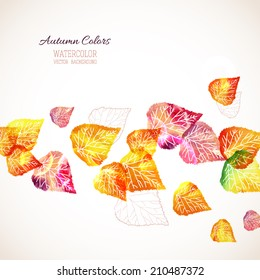 Autumn abstract background with place for your text. Watercolor leaves, autumn colors