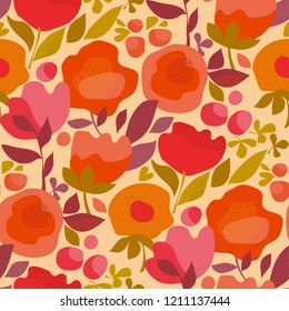 Autumn abstract floral orange seamless pattern. Red and pink decorative flowers in retro vintage style.