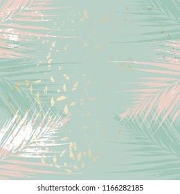 Autumn abstract  foliage green gold blush background. Chic trendy print with botanical motifs