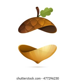 Autumn acorn sphere icon. Vector ecology elements for banner, presentation, web page, card, labels or posters.