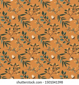 Autumn acorns wit orange background pattern. Leaves, foliage ditsy. Perfect for fall, Thanksgiving, holidays, fabric, textile. Separate elements. Seamless repeat swatch.