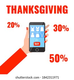 Autumn advertising banner with woman's hand holding smartphone with shopping app. Thanksgiving sale concept. Vector illustration.