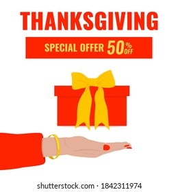 Autumn advertising banner with woman's hand and gift box. We give you a special offer concept. Thanksgiving sale. Vector illustration.