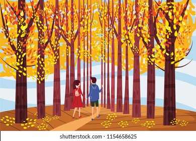 Autumn alley, guy and girl characters walking along the path in the park, fall, autumn leaves, mood, color, vector, illustration, cartoon style, isolated