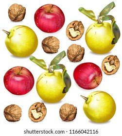 Autumn apple, walnuts and quince pattern Vector realistic. Fall harvest texture