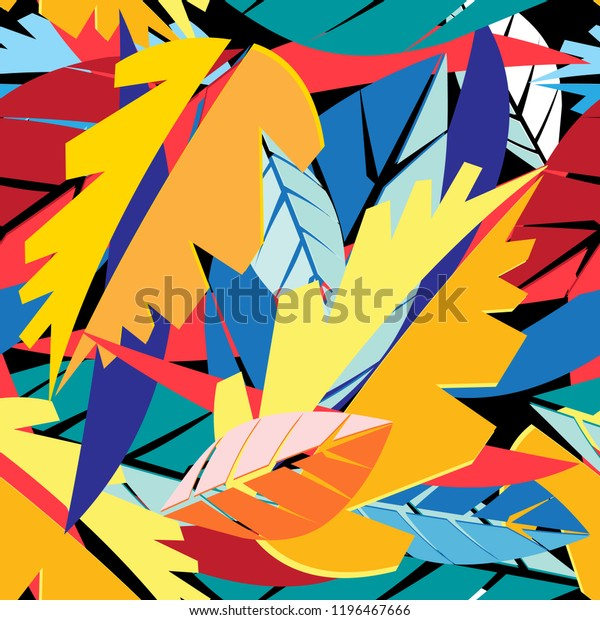 Autumn applique bright tropical pattern leaves against a dark background