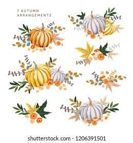 Autumn arrangements with orange, gray pumpkins, maple leaves. Vector illustration. October harvest background. Organic vegetable garden food. Nature design. Fall season elements. Thanksgiving day