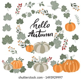 Autumn atmosphere set of elements,pumpkin, leaves, branches, wreath in modern hand drawn vector style.Hello letteringl lettering and illustration collection for fall cards, banners, flyers
