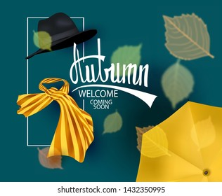 Autumn background with autumn accessoires and falling leaves. Vector illustration