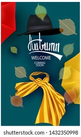Autumn background with autumn accessoires and falling transparent leaves. Vector illustration