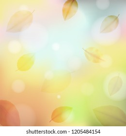 Autumn background blur with leaf fall. Abstract light square background in blue, green, yellow, orange and brown tones for poster, card, postcard, banner. Vector EPS 10