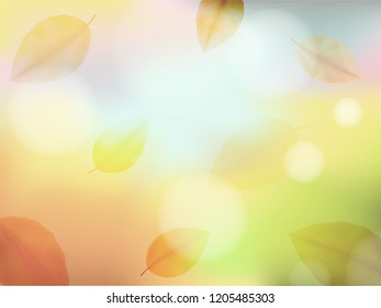 Autumn background blur with leaf fall. Abstract light rectangular background in blue, yellow, orange and brown tones for poster, card, postcard, banner, wallpaper. Vector EPS 10