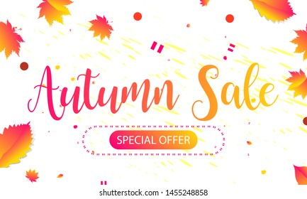 Autumn Background brushstrokes.  Orange and yellow color autumn sale web banner template with leaves, Vector illustration
