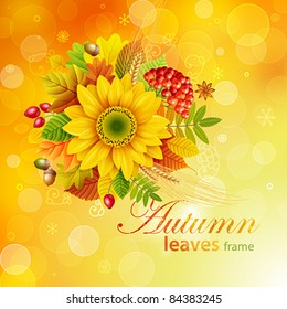 Autumn background with colorful leaves. Vector illustration. Check my portfolio for raster version.